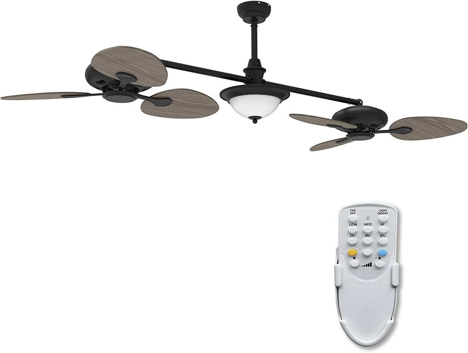 Ovlaim 86 inch Double Ceiling Fan, Oil-rubbed Indoor Ceiling Fan with Light and Remote Control , Dual Ceiling Fan Dimmable 3 color Temperature 6 Blades Wood Angle Ceiling Fan