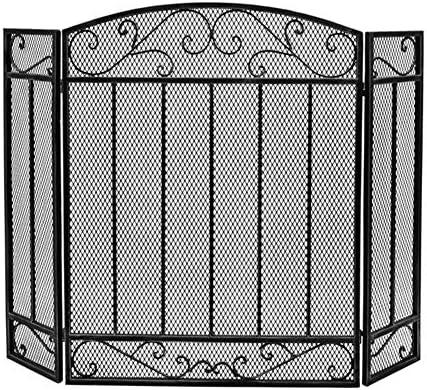 """暖炉 スクリーン 3ブラックファイアースクリーンを折り 31.5""""H / 44.5 '' W - 錬鉄製の暖炉立ち門/アウトドアスパークフレイムガード/安全ハース"""