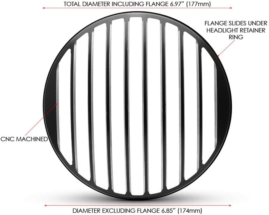Moto Phare Housse 7  Pouce Protection Scrambler Projet R/étro Mince Grille Mod/èle