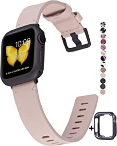 JSGJMY Genuine Leather Band with Case Compatible with Apple Watch 38mm 40mm 42mm 44mm Women Men for iWatch Series 5 4 3 2 1 (Pink Sand/Space Grey, 38mm/40mm S/M)