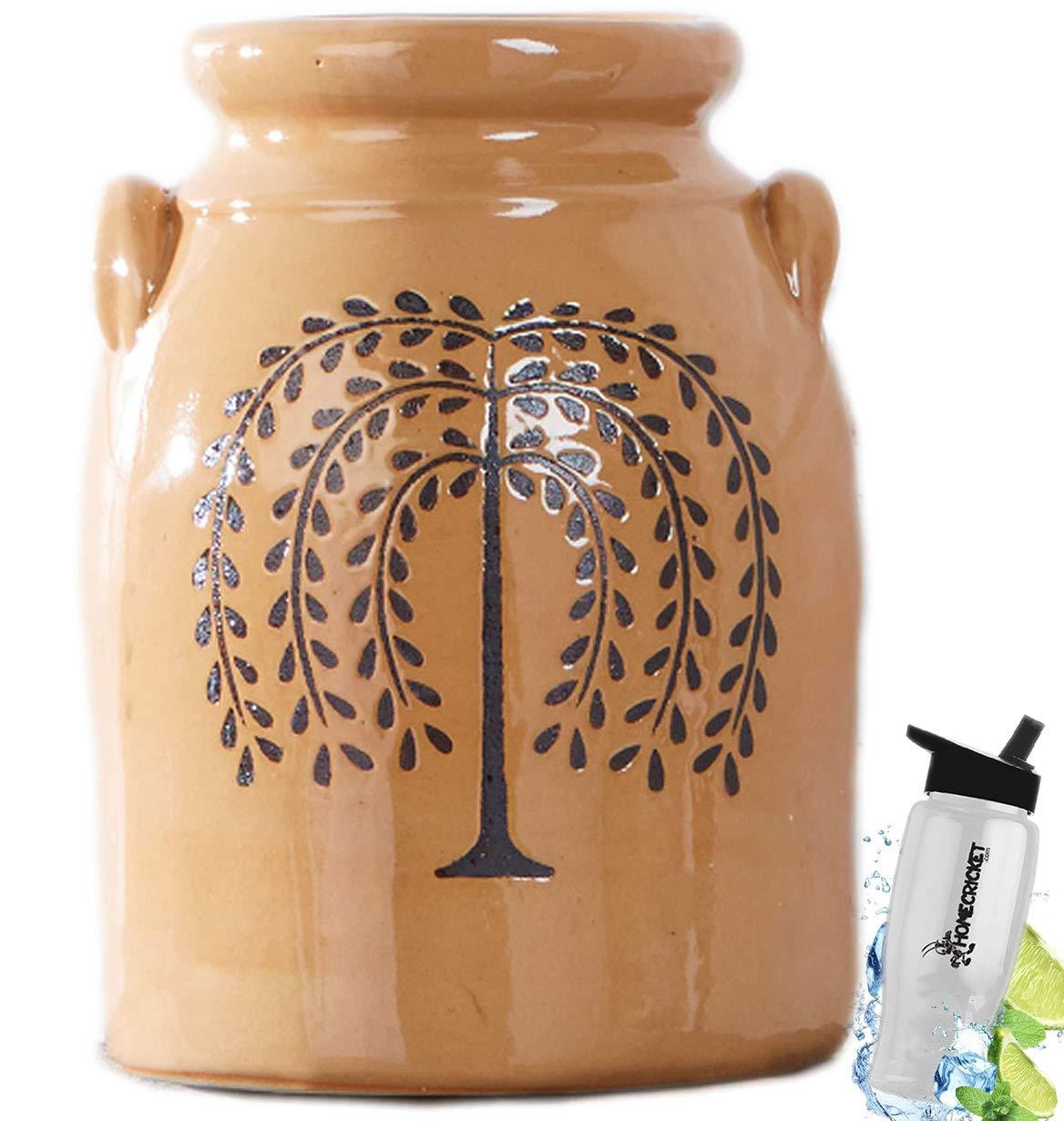 HomeCricket Gift Included- Decorative Farmhouse Country Kitchen Primitive Utensil Crock or Flower Vase Willow Tree+ Free Bonus Water Bottle