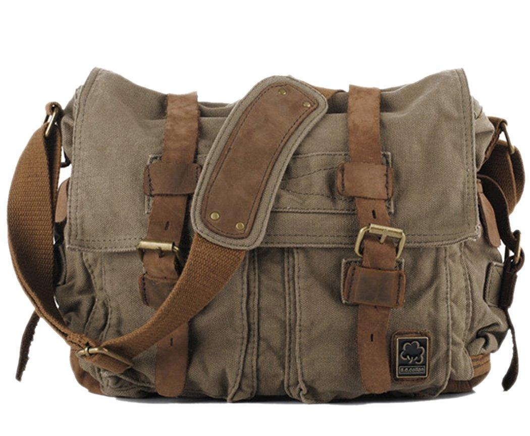 Cooler Mens Boys Vintage Canvas Shoulder Military Messenger Bag school Bags  35cm X 30cm X 10cm f6f8bbd45d9