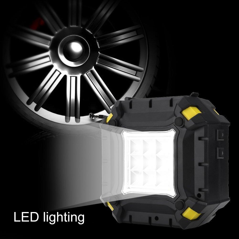 Inflador de Neum/áticos 12V 100 PSI con Pantalla Digital bicis objetos hinchables pelotas Luz LED y 3 Adaptadores de boquillas para Veh/ículos motos Qiilu Compresor de Aire Port/átil Coche