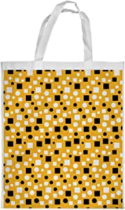 Squares and circles Printed Shopping bag, Large Size