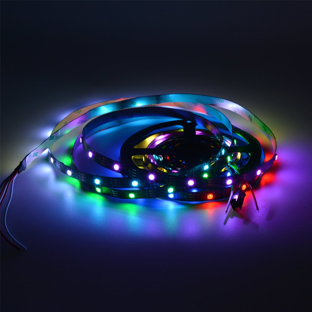 MOKUNGIT WS2812B LED Strip 16.4Ft 5M WS2812B 30Pixels/m 150 Pixels Programmable Individual Addressable LED Strip Light WS2811 Built-in 5050 RGB Smart LED Pixel Strip DC5V Black PCB Non-waterproof IP33