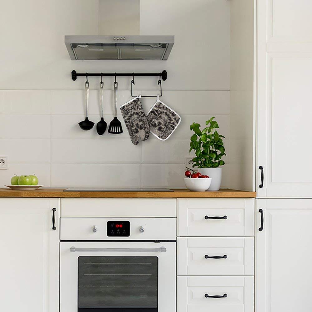 Grillen 152,4 cm C, Verdickung Backen rutschfeste K/üchenhandschuhe zum Kochen hitzebest/ändig bis ca GERSHOUT Ofenhandschuhe Topflappen Totenkopf-Motiv