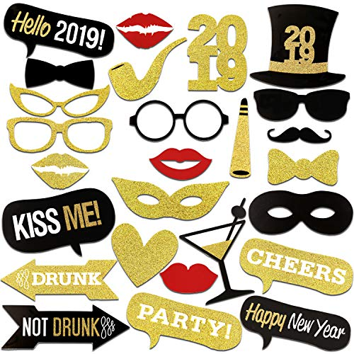 Konsait 2019 New Years Photo Booth Props with Sticks Funny New Years Eve Photo Props DIY NYE Party Accessories Masks Mustache Hat Red Lips Glasses New Year's Eve Party Decoration -