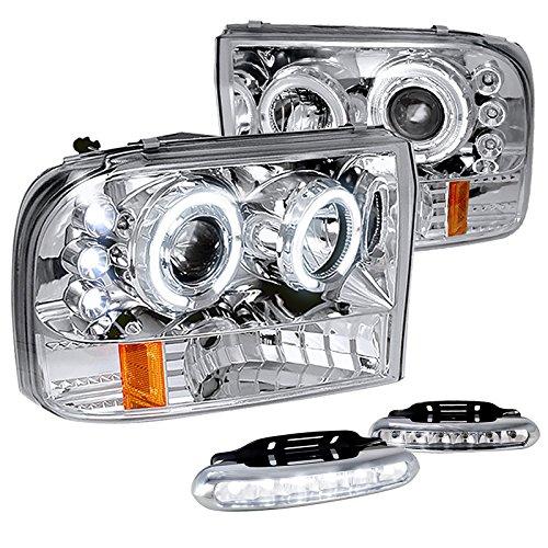 F250 Super Duty Excursion Chrome Halo Projector Headlights+6-LED Fog - Door Headlight Super Duty F550