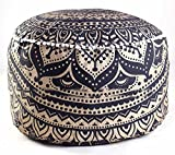 Handicraft-World Indian Beautiful Large Mandala Seating Furniture Round Floor Meditation Footstools Ottoman Poufs Cover Footstool ottoman 24'' By HW-34