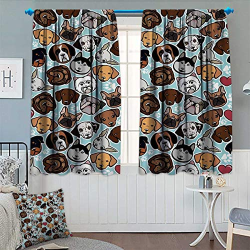 Dog Lover Thermal Insulating Blackout Curtain Canine Breeds Bulldog Chihuahua Siberians and Retriever Love Heart Paw Prints Patterned Drape for Glass Door 55