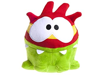 "CUT THE ROPE - Plush toy green ""Om Nom"" Super Hero with red"