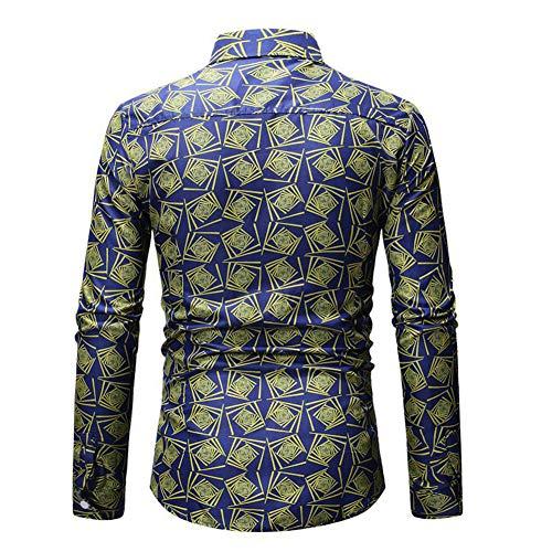 Shirt Bleu amp;courtes T Couleurs Variées Allthemen Chemise Hommes Longues Manches Imprimer tgvyS7Pwq7