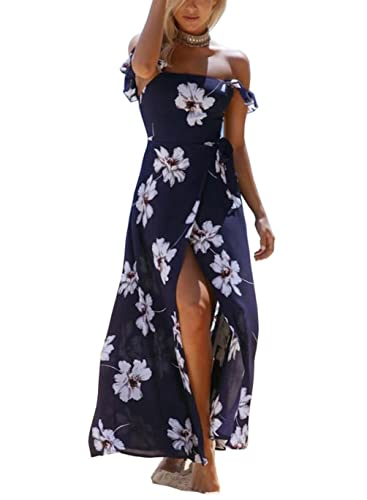 FFLMYUHULIU Women Summer Off the Shoulder Boho Sexy Split Maxi Beach Party Dress