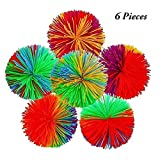 6-Pack Monkey Stringy Balls Sensory Fidget Toy Stress Balls Rainbow Pom Ball Active Toys