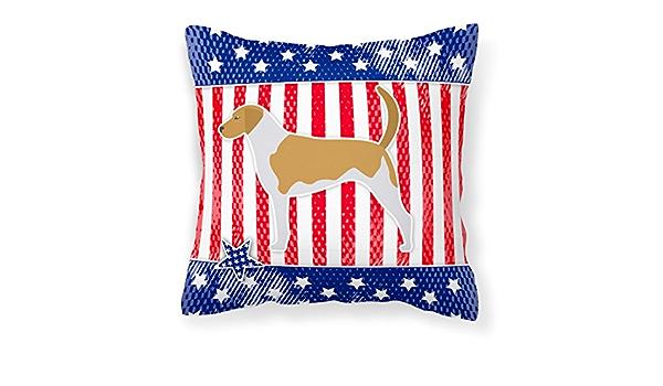 Amazon Com Caroline S Treasures Bb3298pw1818 Usa Patriotic American Foxhound Fabric Decorative Pillow 18h X18w Multicolor Garden Outdoor