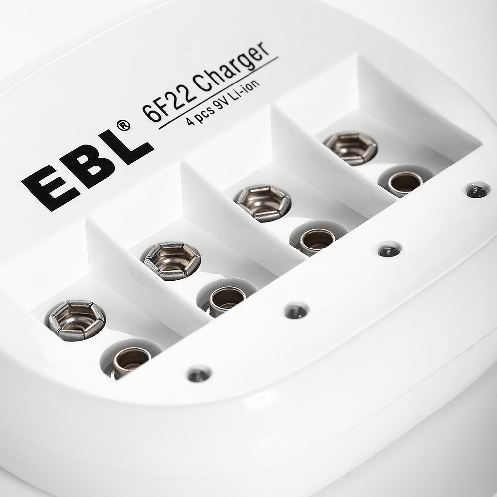 EBL 2 Pack High Volume 600mAh 9V 6F22 Lithium-ion Rechargeable Battery with 4 Bay 9V Li-ion Battery Charger