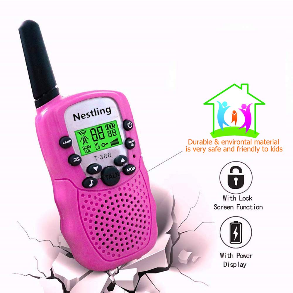 Walkie Talkies, Toy Phone, Long Range Walkie Talkies for Kids 3 Mile Range 22 Channels 3 Pack Kids Two Way Radios Quality Toys Birthday Gift Camping Gear Games for Boys and Girls (Pink,Yellow,Blue) by Nestling (Image #5)