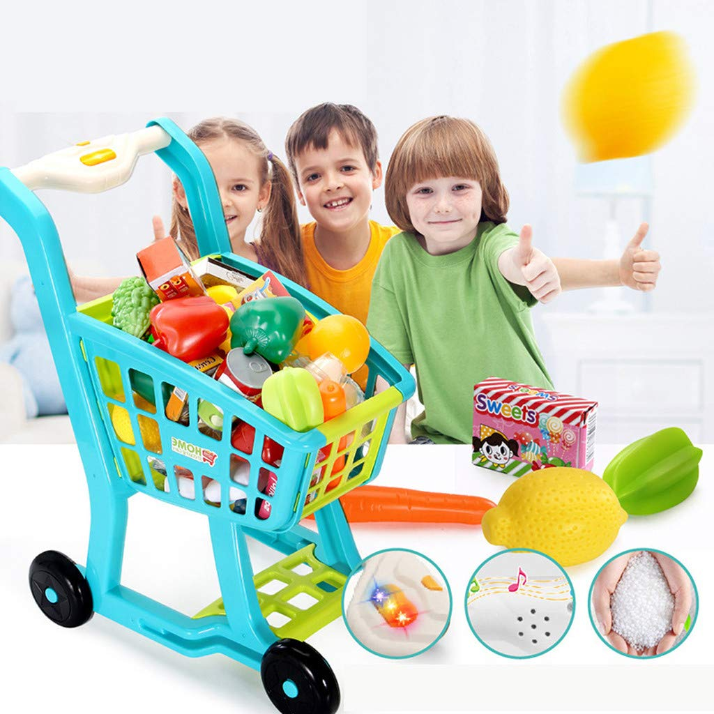 Nesee Kids Shopping Cart for Toy Groceries, Blue Portable Cart with Fruits, Vegetables, Food, Pretend Play Toy Grocery Cart (Ship from US)