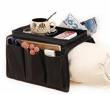 Resistente organizador para apoyabrazos de sofá con sujetavasos, bolsillos para mando a distancia, dispositivos Apple, móviles, tablets, revistas, ...