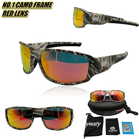 Tryway meilleure qualité de lunettes de soleil pour homme Sport Outdoor Camouflage Cadre Marron UV Lunettes polarisées Cheap classique pour homme Frames Goggle Cool Pêche Lunettes Design Polaroid Lune QTXfl
