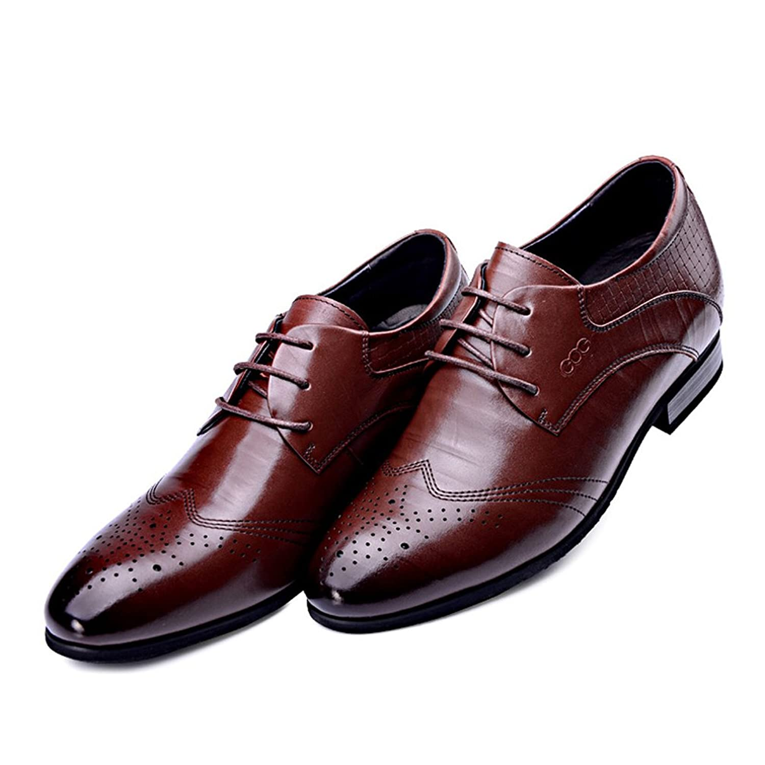 2.36 Inches Taller - Height Increasing Elevator Shoes (Brown Business Dress Shoes)