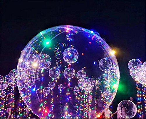 MOSTOP LED Balloon Light Wave Ball Light Up Transparent Balloons LED Multi Light for Christmas Birthday Cub Wedding & Party Battery 18 inch 10 pcs (Bar Lightwave 4)