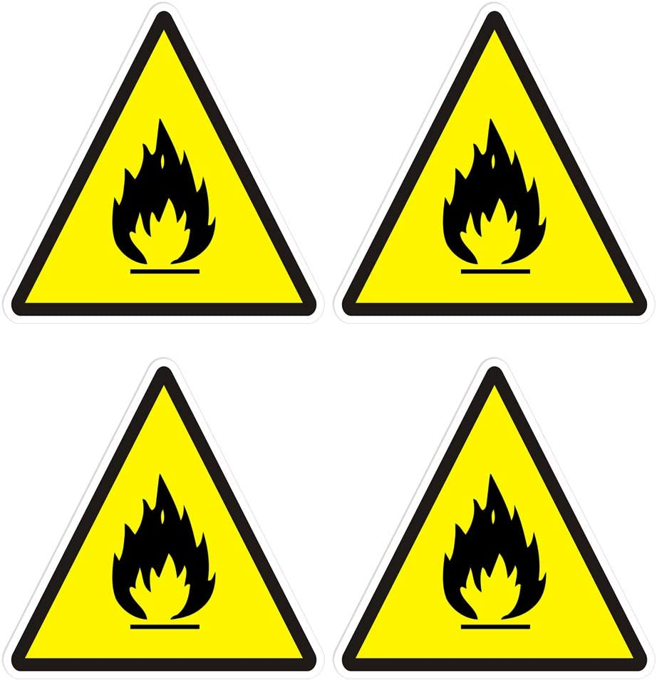 dealzEpic - Flammable Symbol Sticker Safety Warning Sign - Self Adhesive Peel and Stick Vinyl Decal - 3.94x3.94 inches   Pack of 4 Pcs
