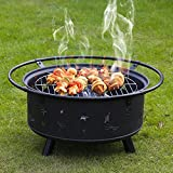 Kinbor 30-Inch Portable Wood Burning Fire Pits Iron BBQ Backyard Patio Garden Round Fire Pit with Cooking Grill, Spark Screen and Free Waterproof PVC Cover,Father's Day Gift