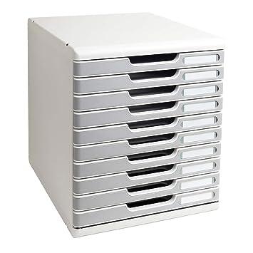 Exacompta - Mueble archivador con 10 cajones, color gris: Amazon.es: Oficina y papelería