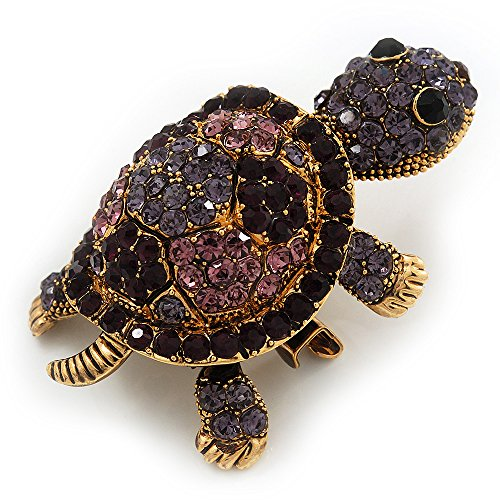 Crystal Swarovski Turtle (Amethyst/ Deep Purple Swarovski Crystal 'Turtle' Brooch In Gold Metal - 5.5cm Length)
