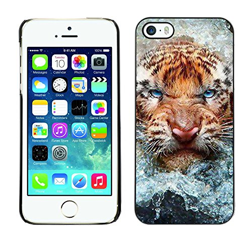 TaiTech / Case Cover Housse Coque étui - Angry Cat Tiger Water Nature Animal - Apple iPhone 5 / 5S