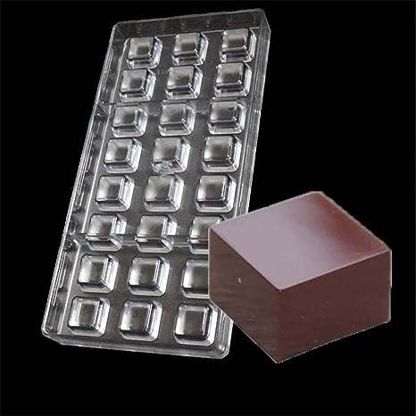 Vak 24 cavidades cuadrado Chocolate Candy de policarbonato molde bandeja Jelly Mold Inyección duro PC moldes