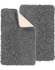 Utopia Home 2 Pack (50 x 76 cm) Szenilowe maty kąpielowe, antypoślizgowe, bardzo miękkie, bardzo chłonne, szare