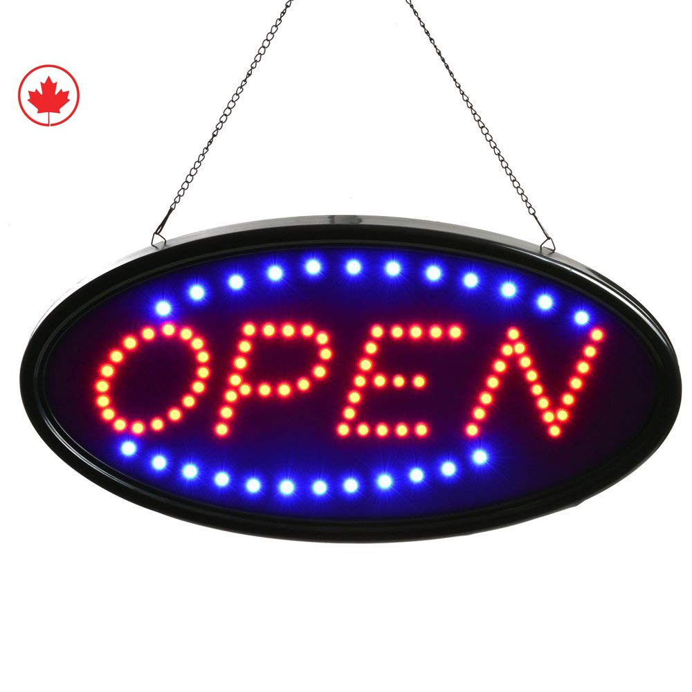 OPEN SIGN by JAM Premium Products 19x10 LED OPEN Sign Electronic Billboard Bright Advertising Board Flashing Window Display Sign with Motion - OPEN (Red/Blue) - Two Modes Gilly