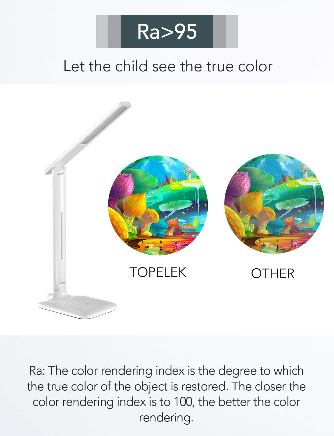 Perfect for Kids and Adults Dimmable Office Lamp with 9 Brightness Working Touch Control LED Desk Lamp TopElek Eye-caring Folding Desk Light Warm//Cool White for Reading Studying