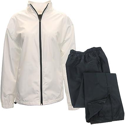 Amazon.com: ixspa Mujer Packable lluvia traje, M, Blanco ...