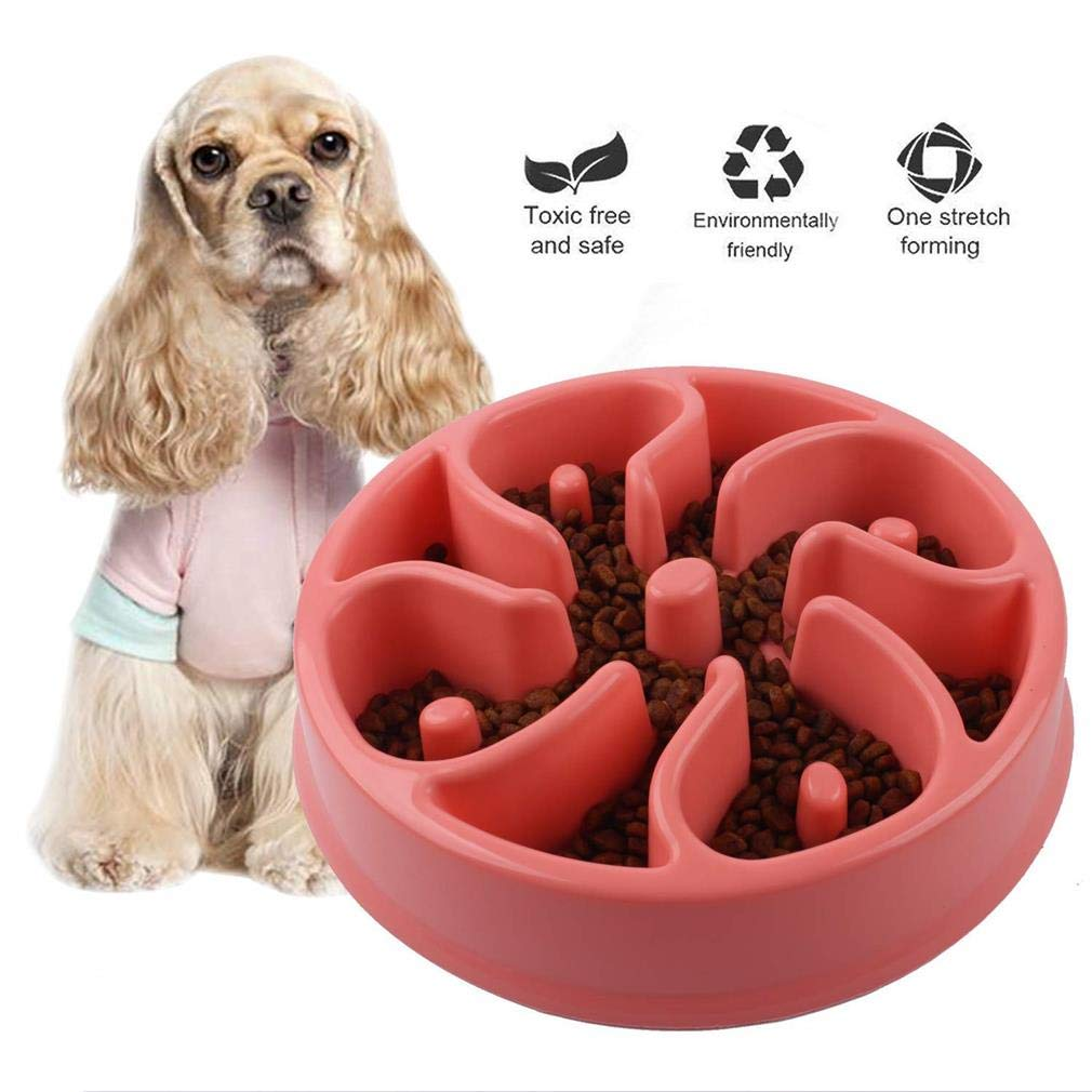 Pink Pets Slow Feeder Dog Bowl, Eating Interactive Down Feeding No Plastic Eco Friendly Bamboo Fiber Feeder Bowls for Fast Eating Dogs,Pink