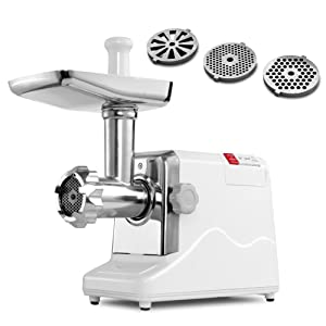 Meat Grinder Electric 2.6 HP 2000 Watt Industrial Heavy Duty Professional Commercial Home Sausage Stuffer Maker Food Mincer Slicer Mills Mixer with 3 Attachment Tool and Cutting Blades