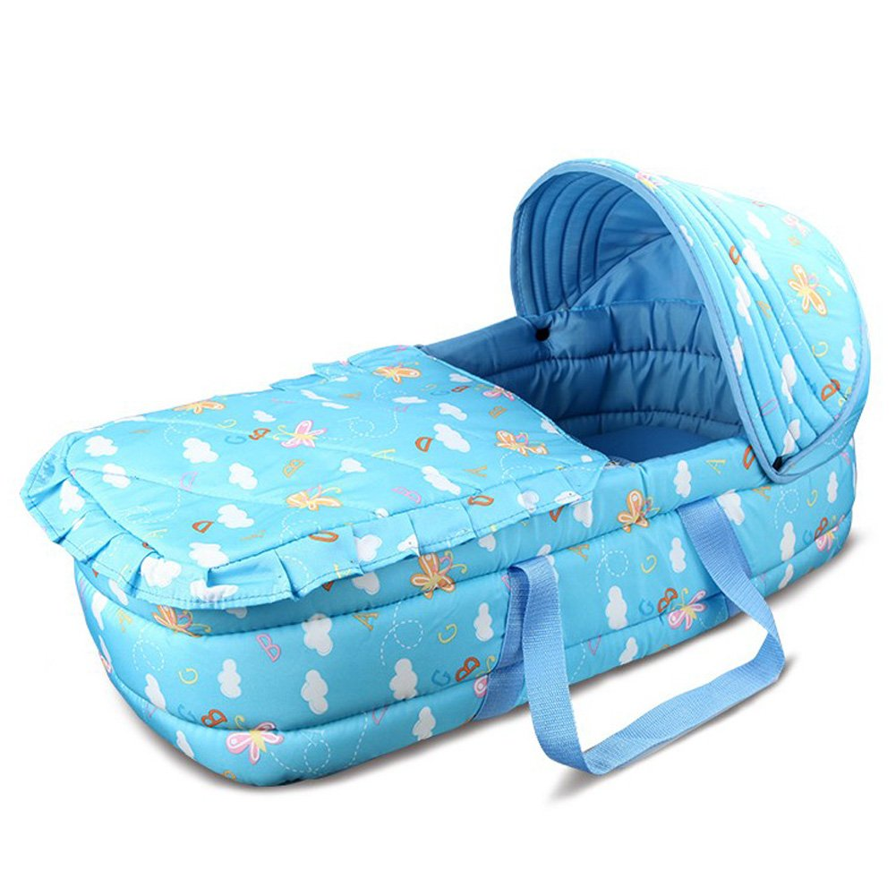 Olpchee Portable Baby Carrycot Baby Travel Bed Crib Infant Transporter Basket with Double Handle for 0-7 Months Babies (Blue) by Olpchee