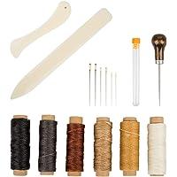 Set of 16 Bookbinding Tools, SourceTon Bone Folder Creaser Waxed Linen Thread Wood Handle Awl Large-Eye Needles for…
