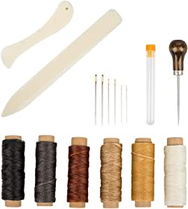 Set of 16 Bookbinding Tools, SourceTon Bone Folder Creaser Waxed Linen Thread Wood Handle Awl Large-Eye Needles for Handmade DIY Bookbinding Crafts and Sewing Supplies