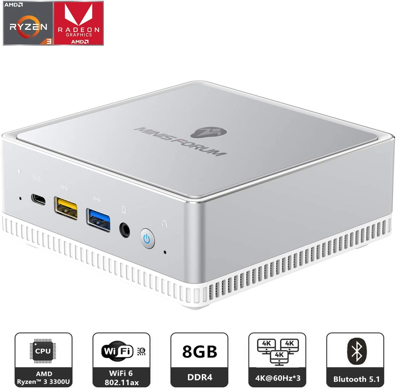 Mini PC AMD Ryzen 3 3300U | 8 GB RAM 256 GB M.2 SSD | Radeon Vega 6 Graphics | Windows 10 | Intel WIFI6 AX200 BT 5.1 | 4K HDMI 2.0 / Display/USB-C | 2X RJ45 Gigabit | 4X USB 3.1 | Small Form Factor