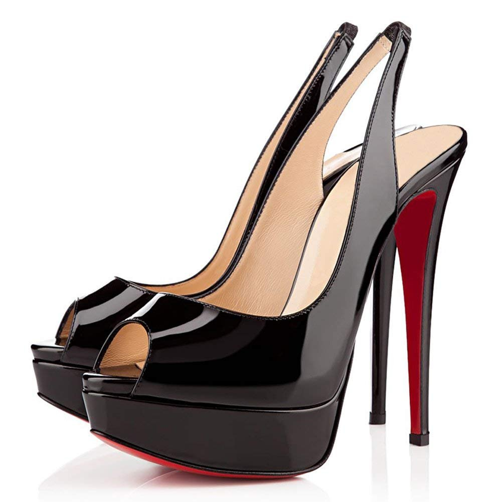 Caitlin Pan Womens Peep Toe Pumps Platform Stiletto Sandals High Heels Slip On Dress Pumps 5-14 US B07FCJWHR6 8.5 M US|Black Slingback/Red B0tt0m