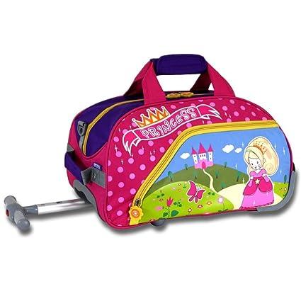 Kids Pink Cute Princess Themed Wheeled Duffle Bag Upright Rolling Duffle 213f883d99a61