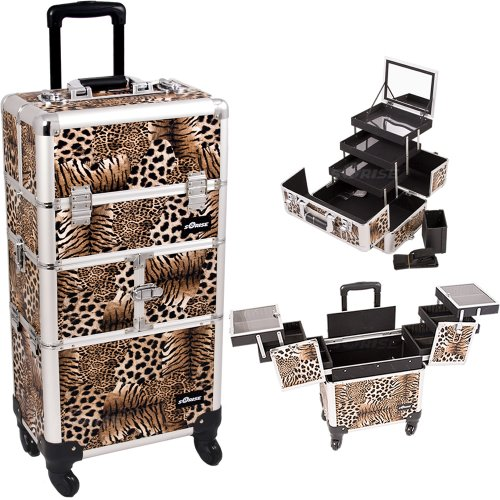 Leopard-Printing-Textured-3Tiers-Accordion-Trays-4Wheels-Professional-Rolling-Aluminum-Cosmetic-Makeup-Case-and-3Tiers-Extendable-Trays-with-Mirror-and-Brush-Holder-I3564