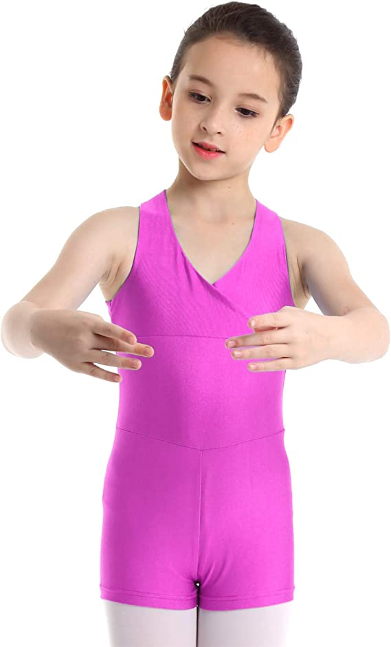 inhzoy Kids Girls Ballet Dance Wear Sleeveless Gymnastic Leotard Criss Cross Back Mesh Splice Bodysuit Jumpsuit
