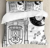 Jukebox Duvet Cover Set by Ambesonne, Doodle Style Retro Music Box Notes Coins Long Play Vintage Sketchy Artwork, 3 Piece Bedding Set with Pillow Shams, King Size, Black and White