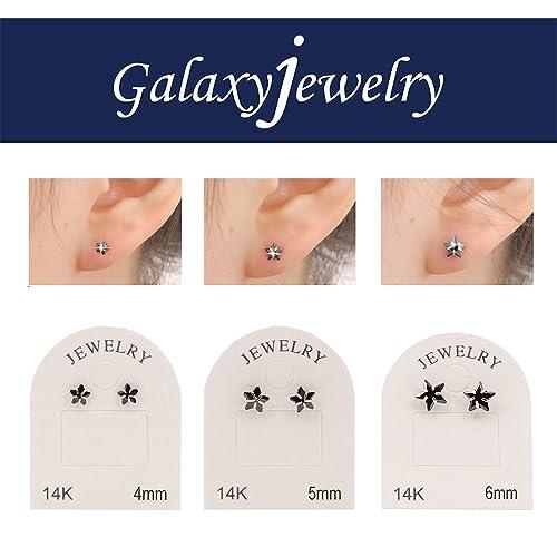 9fd422f2263c galaxyjewelry 4mm Ónice estrella Pendientes de Oro Amarillo de 14K Aretes