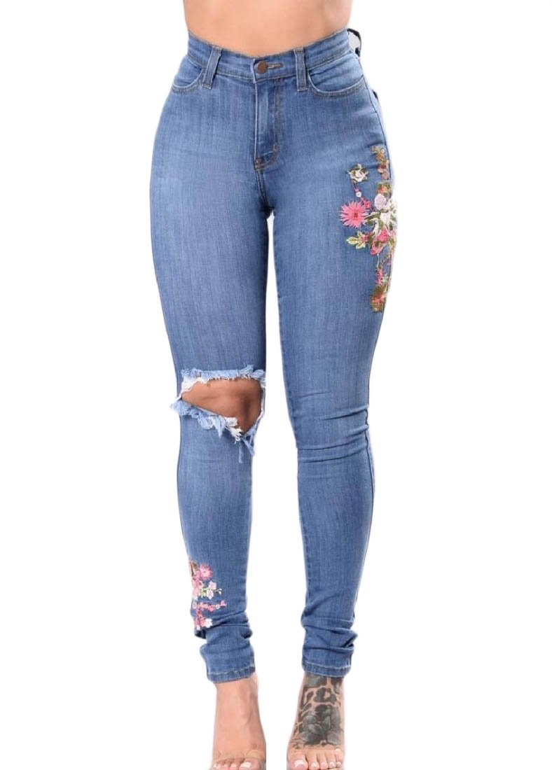 Doufine Women Stretch Printing Skinny-Fit High Waist Fit Push-up Ankle Jeans Light Blue XS