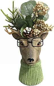 DaycMy Indoor Deer Statue Figurines,Garden Statues Deer Outdoor Ornament with Artificial Plant Home Decor forChristmas,Office, Patio Yard Decorations, 8.3 x7.9 Inch(Plants Included)